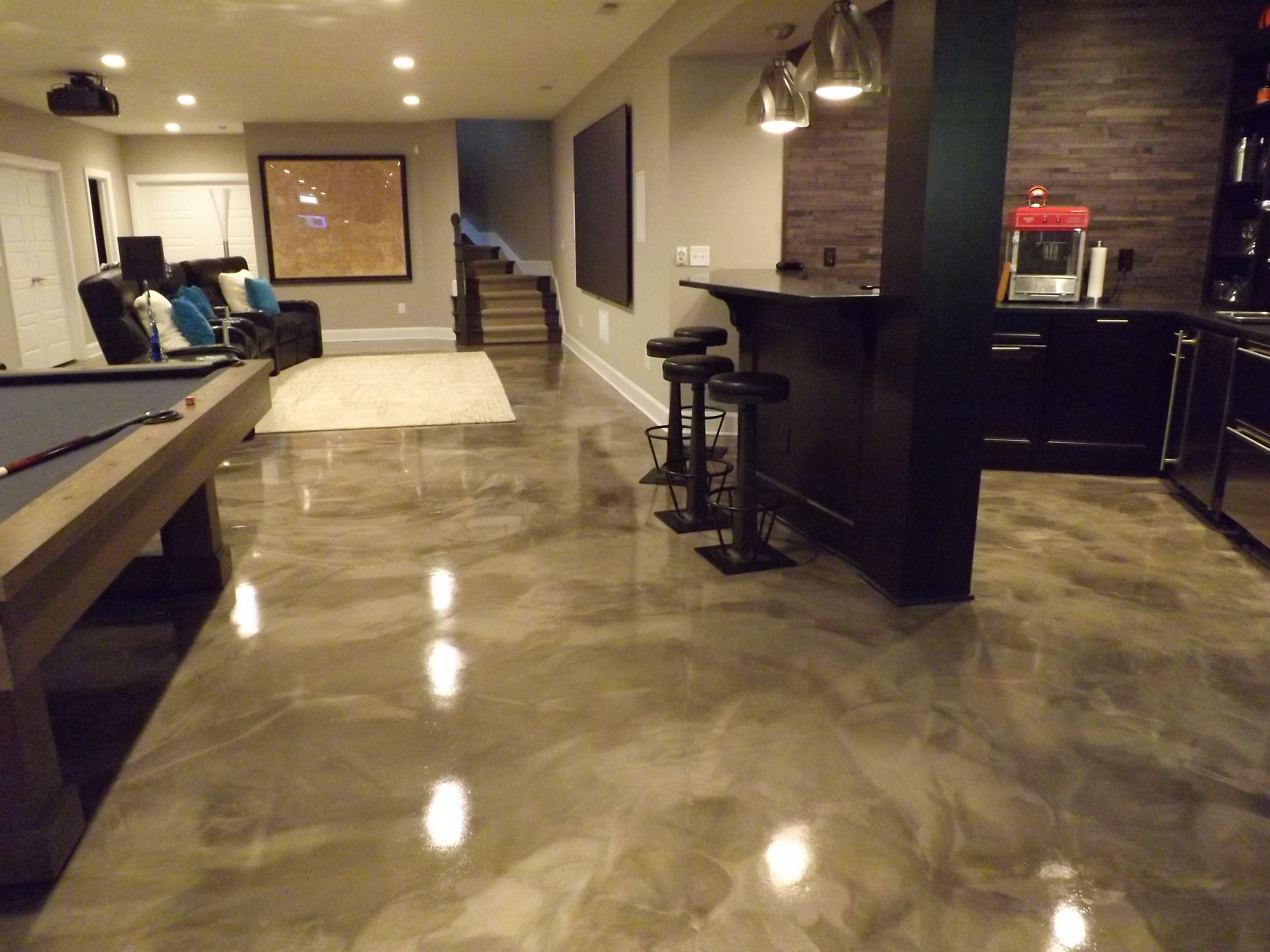 Residential Stained Concrete Floors: Residential Epoxy Flooring